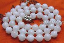 "SALE! Genuine small 8mm Perfect Round White Natural MoonStone 18 inch"" necklace-nec5822 inch"