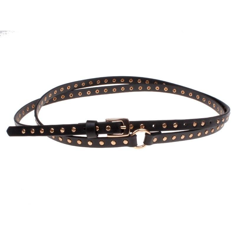 Fashion belts for women dresses punk black super long 200cm double rivet small waist belt women's fine style freeshipping