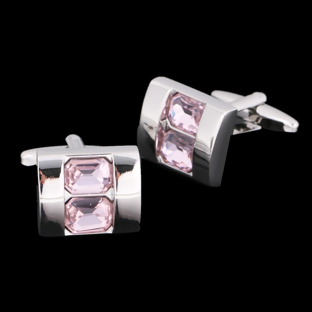 Luxury Fashion Pink Rhinestone Rectangle Silver Plated Cufflinks Wedding Fathers Day Bussiness Shirt Jewelry Ornaments