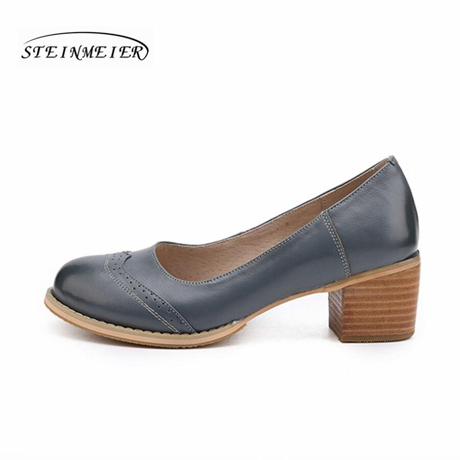Prawdziwej skóry kobieta projektant vintage pompy buty okrągłe toe handmade oxford buty dla kobiet brązowy czarny czerwony beżowy 2018 w Buty damskie na słupku od Buty na  Grupa 3