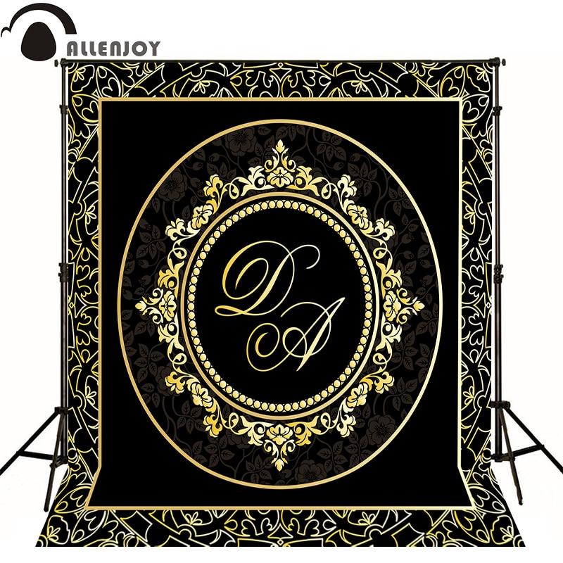 Allenjoy Photographic background Luxury elegant gold pattern original design photocall vinyl custom backdrops
