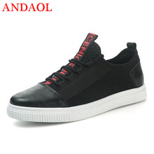 ANDAOL Mens Casual Shoes Top Quality Leachter Patchwork Trainers Luxury Brand Campus Sneakers Spring Male Outdoor shoes