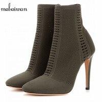 Mabaiwan גרב הבוהן פיפ מגפי קרסול נעלי נשים למתוח שחור לגזור נשים נעלי משאבות אישה נעלי עקבים גבוהים Botines Mujer