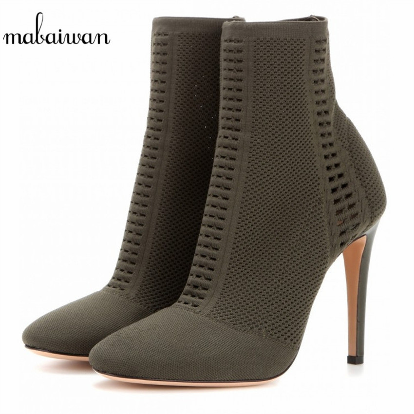 Mabaiwan Black Women Shoes Ankle Boots Stretch Peep Toe Sock Booties Cut Out Women Pumps High Heels Shoes Woman Botines Mujer fashion kardashian ankle elastic sock boots chunky high heels stretch women autumn sexy booties pointed toe women pumps botas
