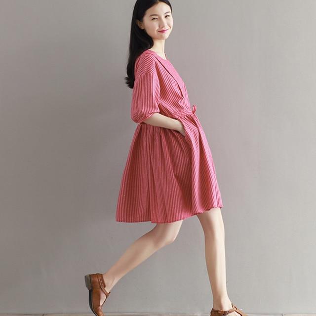 7bfc2bb3bdd1 Women Pink Red Stripes Dress Cotton Linen Casual Loose Vestido 2017 Summer  Vintage Dresses Plus Size Sen Fresh Women Linen Dress