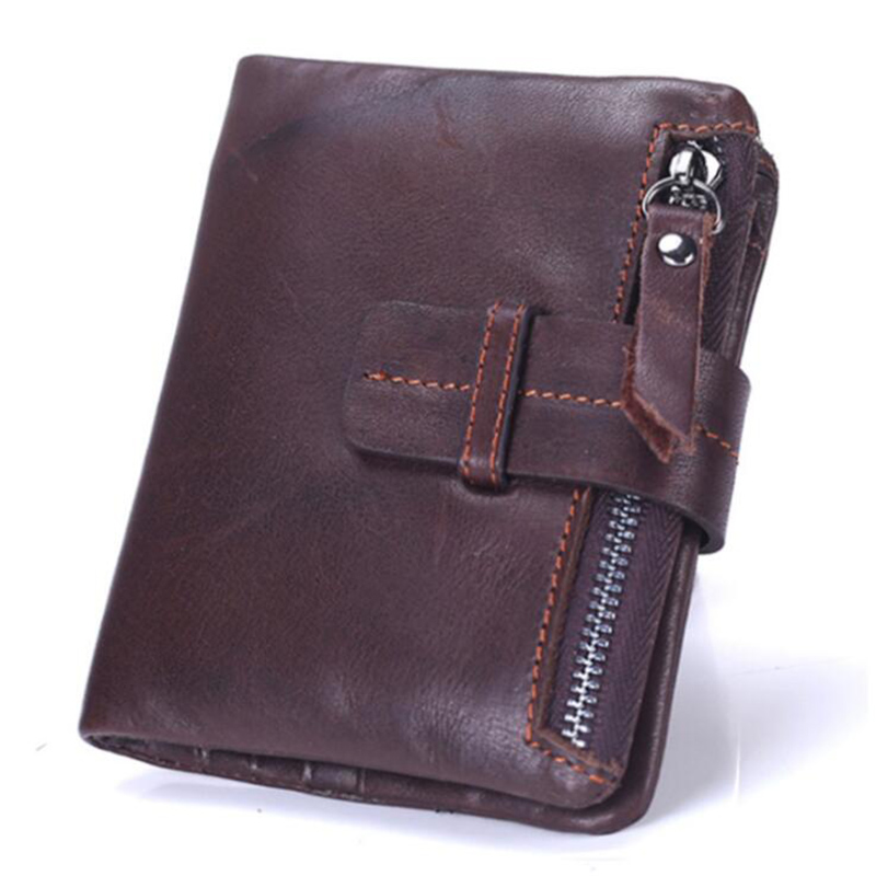Genuine Cow Leather Mens Wallet Man Cowhide Cover Coin Purse Small Brand Male Credit & Id Multifunctional Walets 30%OFF T461
