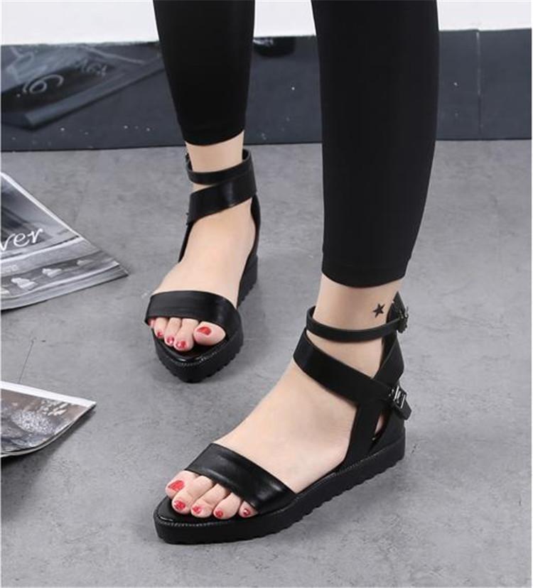 87dbbfc72778 Black Strappy Ankle Strap Flat Platform Sandals Women Sexy Black Summer Platform  Sandal Fashion Trendy Black Strappy Flat Sandal-in Women s Sandals from ...