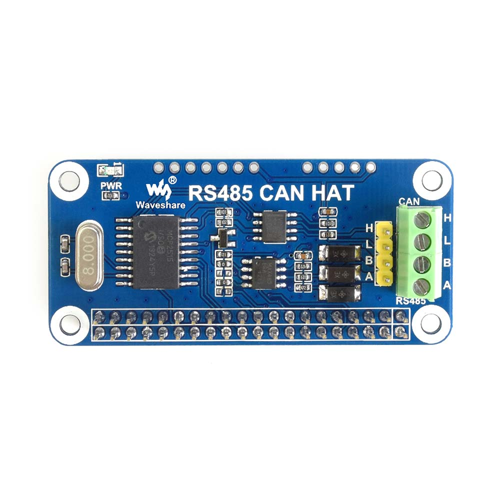 Waveshare RS485 CAN HAT for Raspberry Pi Zero/Zero W/Zero  WH/2B/3B/3B+,onboard CAN controller: MCP2515,485 transceiver: SP3485,