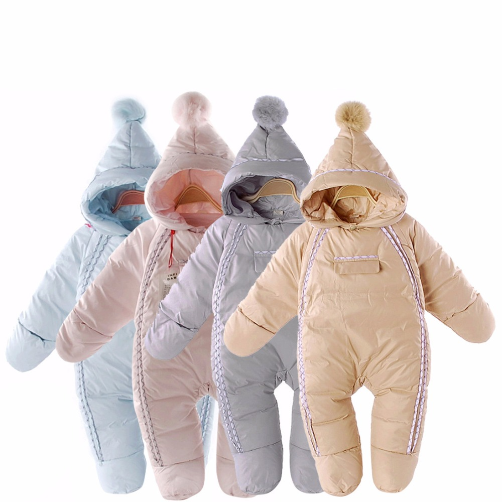 цены 2017 fashion winter baby snowsuit , 4 colour baby boy jacket down snow wear , 0-2Y baby girls clothing Waterproof jumpsuit glove
