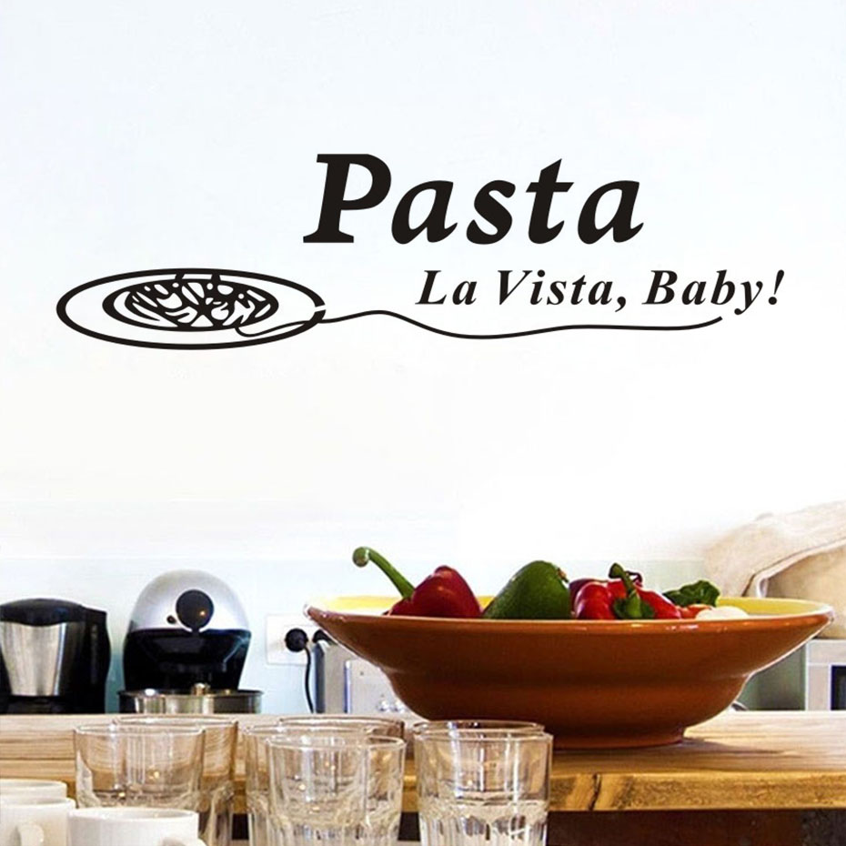 US $3.48 19% OFF|Quotes Pasta La Vista Baby Wall Sticker Decals Funny  Dining Room Poster Vinyl Art Stickers Pvc Home Decor Kitchen Decorations-in  Wall ...