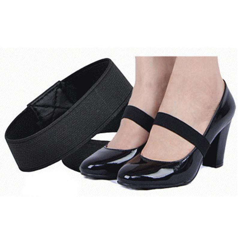 1 Pair 2 * 20cm Elastic Band Color Shoe Strap Solid Color Lace for High Heel Shoes Decor pair of stylish solid color see through long lace fingerless gloves for women