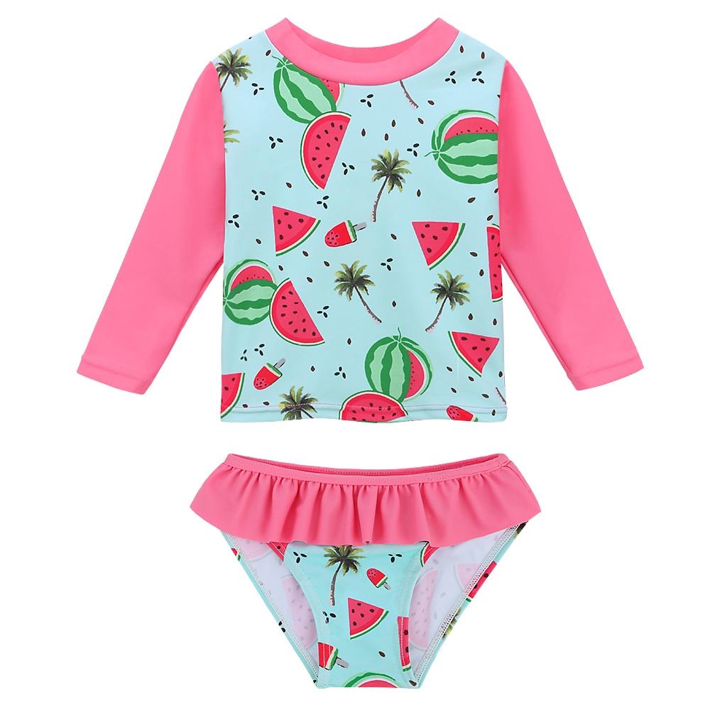 BAOHULU Cute Print UPF50+Baby Girl Swimwear Infant Toddler Swimsuit Long Sleeve Children's Swimwear Two Piece Kids Bathing Suit