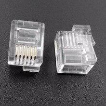 50 шт./лот RJ11 RJ12 разъем 6P6C правой Пряжка штекер кабеля DIY EV3 NXT штекер кабеля кристалл голову