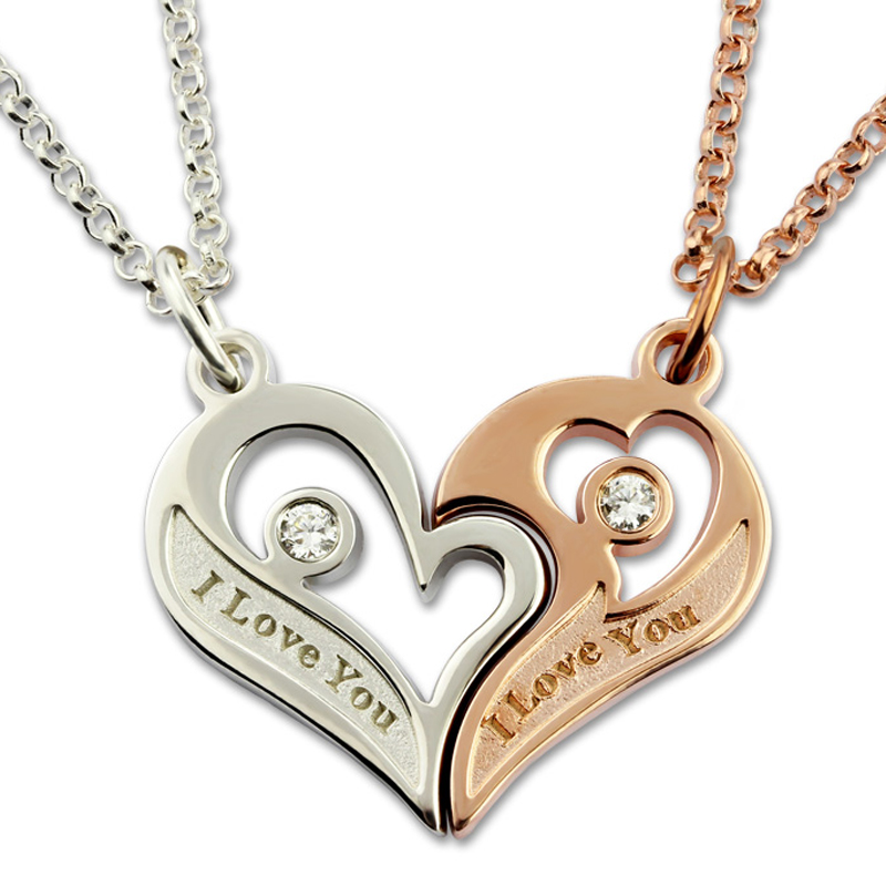 Pair Necklaces for Lovers Couple Breakable Heart Love Necklace With Birthstone Custom Letter Engraving Chain Silver 925 Collares fashion custom lettering 925 silver love heart shaped couple necklace peach heart pendants for men and women yp3196