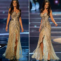 Vestido de Miss Universo Sweetheart piedras moldeado cristalino brillante hendidura frontal de encaje de oro del desfile del Vestido Celebrity vestidos formales