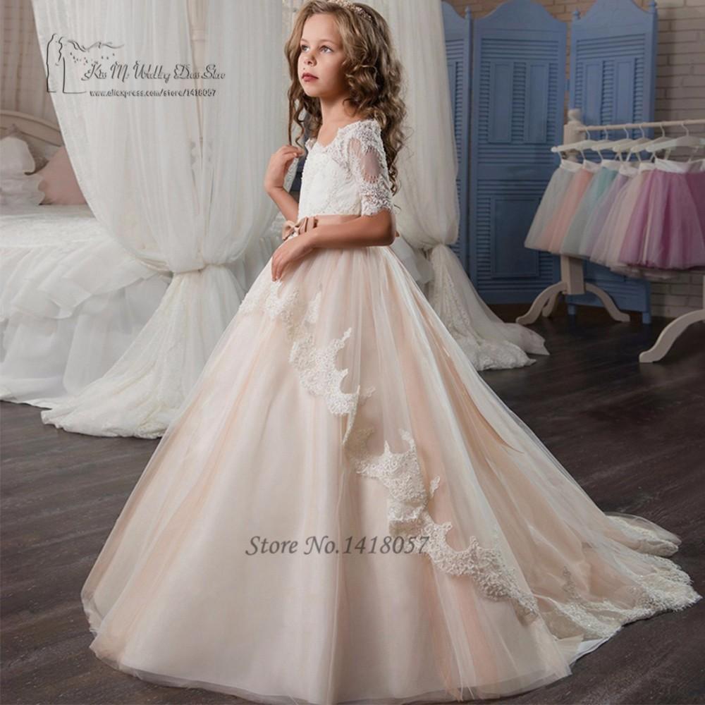 1c437651e First Communion Dresses for Girls Flower Girl Dress Ball Gown Long Pageant  Dresses for Girls 10 12 Graduation Gowns Children
