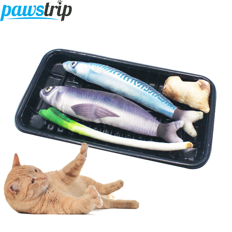 Pawstrip 2018 New Pet Cat Toy Simulation Fish With Catnip Toy For Cats Interactive Kitten Catnip Pillow Toys