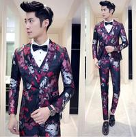 2018 New 3pcs Designer Party Prom Skinny Suit Pants For Men Groom Wedding Suit Blue Red Gold Flower Trajes De Hombres De Vestir