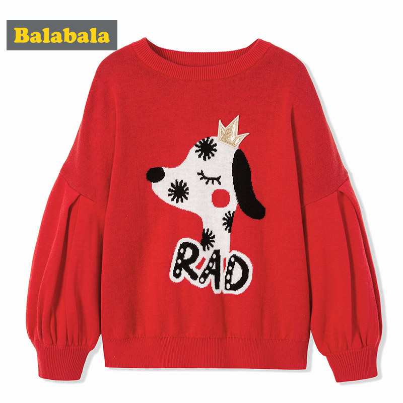 Balabala girls enfant sweater cotton New Years costumes cute dog pattern cotton lantern sleeve sweater pullovers kids for girls фильтр для аквариума aquael pat mini до 120 л 400 л ч