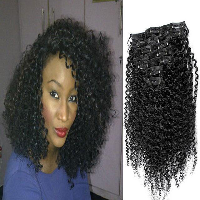 Frete grátis brasileiro Kinky Curly grampo em extensões de cabelo 100% cabelo encaracolado grampo em extensões de cabelo humano para as mulheres negras