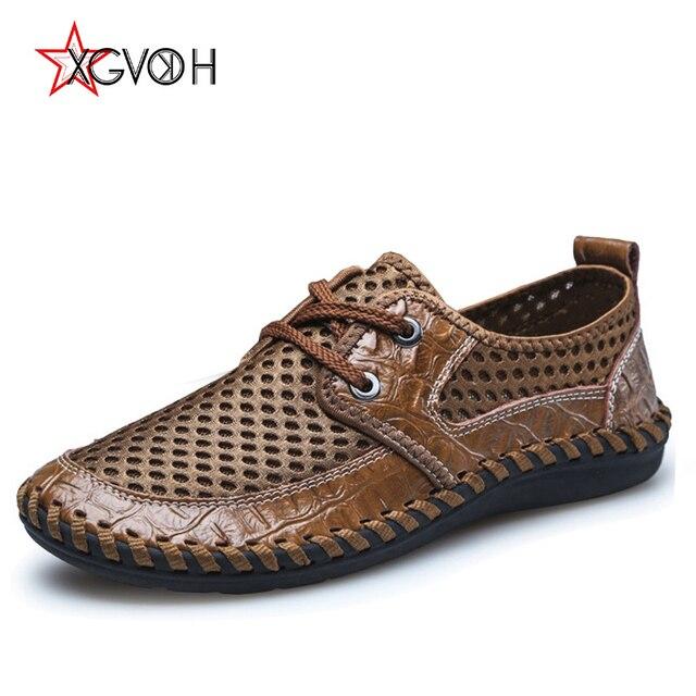 Más 38-46 hombres zapatos verano respirable Air Mesh zapatos para Hombre Zapatos casuales de cuero real Zapatos Hombre mocasines suaves cordón tamaño 6.5-10.5