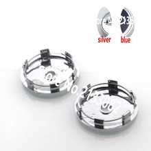 Hight quality 4pcs/lot 60mm silver blue car Wheel Center Caps hub cap Rims cover emblem badge