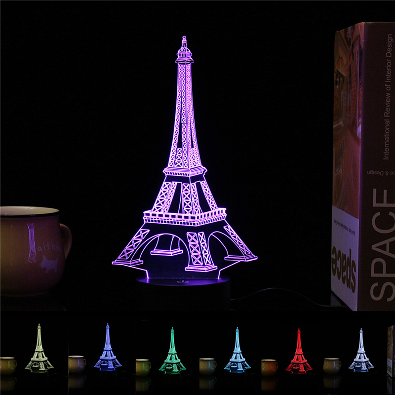 Smuxi 3D Fashion Romantic Eiffel Tower LED Night Light 7 Color Changeable Mood Table Lamp Bedroom Family Home Decor Friends