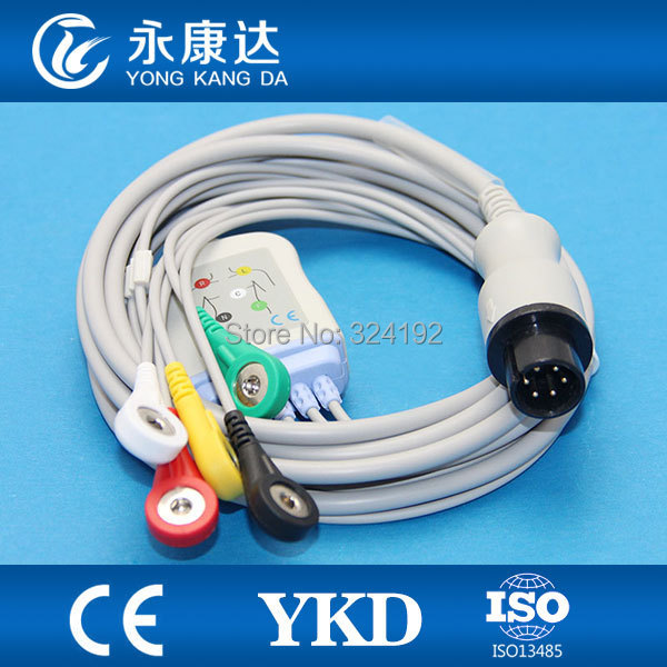 Free Shipping GE One-piece Series Patient ECG Cable 6pin 5 Lead Snap Wth Resistance