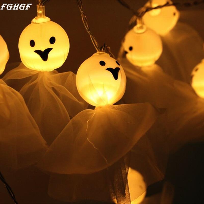 FGHGF LED Light Halloween Ghost Fairy 3M 20 LED String Light Skull Garland Halloween Party Festival Decortation 2017 New