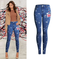 Europe and The United States Embroidered Slim Women Embroidered Jeans Personalized Paint point spray Slim pants pencil pants