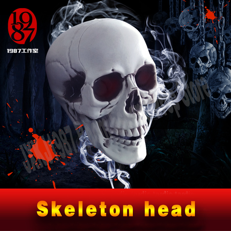 Real life room escape prop Skeleton head / Skull Head plastic material, odorless and durable scary decoration, bar decoration майка print bar scary rabbit