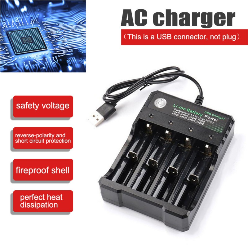 Battery Charger 4-slot Li-ion Battery Charger Player Amplifier USB Charging Stand Rechargeable Multiple Battery Charger