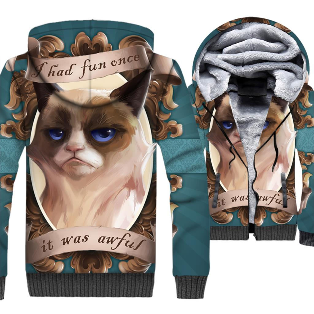 I HAD FUN ONCE IT WAS AWFUL Funny CAT Sweatshirts For Men 2018 Autumn Winter Thick Tracksuit Animal 3D Printed Jackets Hoodies