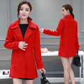 Autumn and Winter Women Two-sides Solid Color Woolen Jacket Turn-down Collar Pocket Trench Coat Plus Size