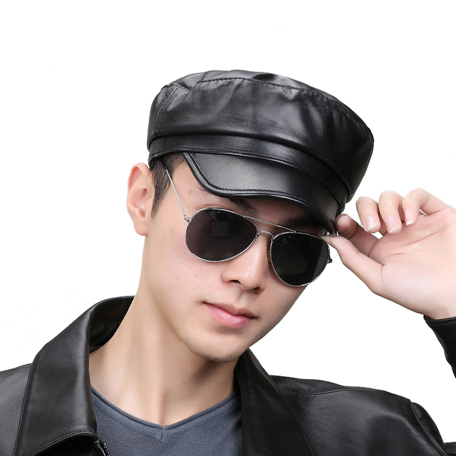 Cool New Fashion Unisex Black Baseball Cap Genuine Leather Hats Sports Snapback For Adults