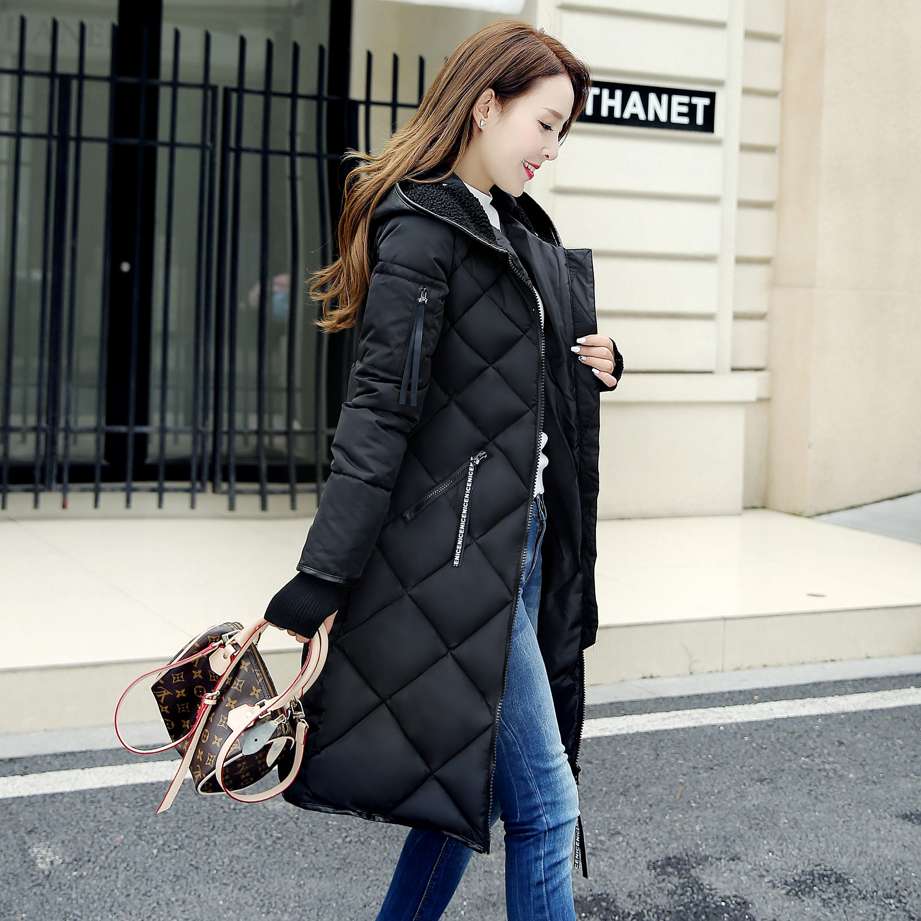 2016 Winter parkas women argyle hooded slim medium long jacket female thicken outerwear plus size coat