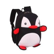 2016 kleines kind rucksack Schultaschen für Mädchen Jungen 3D cartoon Tiere pinguin Bookbags Nette Druck kinder trolley schultasche
