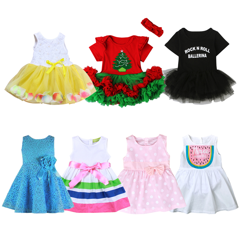 Baby Girl Dress Cotton Children Kids Girls Dresses One Piece Baby Summer Clothing Princess Birthday Dress Christmas Dress DS40