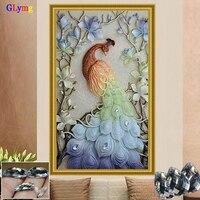 GLymg Diamond Embroidery Diy Magnolia Peacock Diamond Painting Cross Stitch Round Full European Home Decor Mosaic