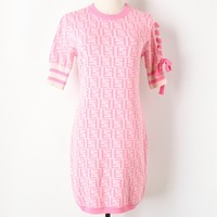 2018 New Basic Knit Sweater Dresses Women Runway Design Lace up Bow Knitted Office Lady Casual Dress Summer Knitwear Vestidos