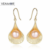 Classic Sea Shells Design 925 Sterling Silver Natural Freshwater Pearl Scallop Drop Earrings For Women Girl