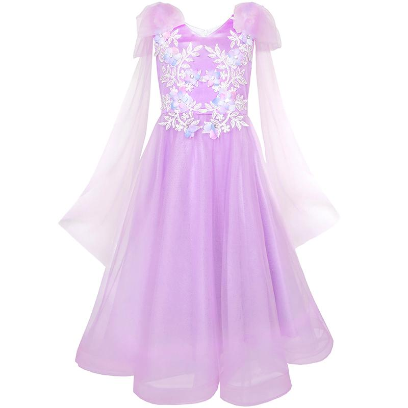 Sunny Fashion Flower Girls Dress Purple Sleeveless Mantillas Wedding Bridesmaid 2017 Summer Princess Party Dresses Size 7-14 купить