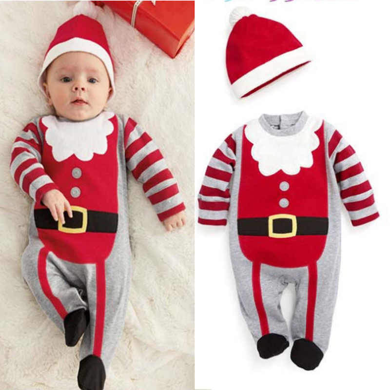 Newborn Baby Clothes 2019 Winter Baby Christmas Romper Long Sleeve Kids Boys Girls Jumpsuit Hat 2Pcs Infant Clothes Baby Costume
