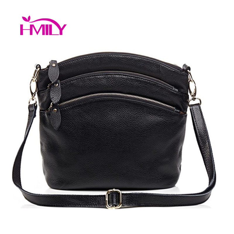 HMILY Genuine Leather Women Messenger Bag Three Zipper Crossbody Ladies Bag Korean Style Women Mini Daily