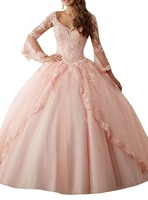 Cheap Pink Blue Long Sleeve Quinceanera Dresses 2017 Ball Gown Sweet 16 Dresses Princess 15 Years