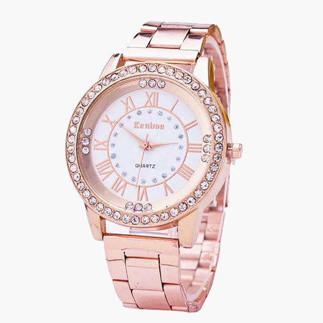 Kanima Luxury Brand Neutral Quartz Watches Men & Women Diamond Gold Watch Stainless Steel Analog Fashion Watch For Gift Clock #M
