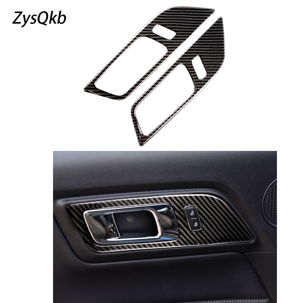 Pour Ford Mustang Fiber De Carbone Intérieur Porte Poignées Porte Bol Couvercle Décoratif Garniture Voiture Style Autocollant Auto Accessoires