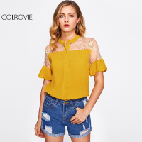 COLROVIE Embroidery Mesh Shirt Floral Cute Frill Cuff Blouse 2017 Yellow Women Semi Sheer Summer Tops