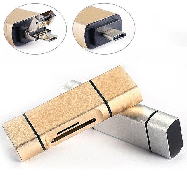 3 w 1 MicroSD SD TF USB2.0 MicroUSB OTG typu C uniwersalny czytnik kart pamięci projekt dla Ipad z systemem Android telefon PC Macbook