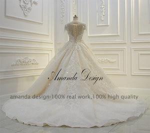 Image 5 - Amanda design de alta qualidade manga longa rendas apliques pérolas champanhe vestido de casamento